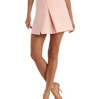 Peach Asymmetrical-Pleated Scuba Knit Skirt by Charlotte Russe