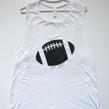 SALE - LARGE - FOOTBALL MUSCLE TANK - Ruffles with Love - Womens Fitness - Workout Clothing - Workout Shirts with Sayings