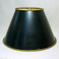 ANTIQUE DRUM LAMPSHADE Lovely Traditional Solid Black Lamp Shade with Metallic Gold Rim and Clip on attachment
