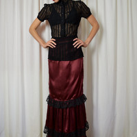 Burgundy Steam Punk Skirt, Satin Skirt, Black Lace, 1900's Skirt, Victorian Skirt, Edwardian Skirt, Long Skirt,Pirate Skirt, Size Sm Lg