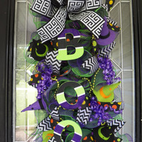 Halloween Wreath- Halloween Door Hanger- Halloween Door Swag- Halloween Decoration- Front Door Hanger- Ready to Ship