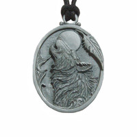 Howling Wolf Pendant Necklace in Pewter with Adjustable Cord