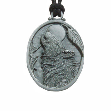 Pewter Pendant Necklace with Adjustable Cord -  Howling Wolf