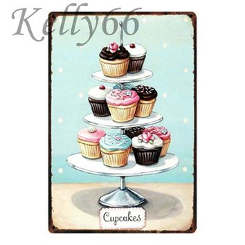 [ Kelly66 ] CUPCAKES Metal Tin Sign Tin Poster Home Decor Bar Antique Wall Art Painting 20*30 CM Size y-1345
