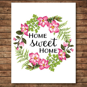 Home Sweet Home Print, Wreath Print, Wreath Art, Flower Print, Home Print, Home Art, Home Decor, Living Room Art, New Home Gift