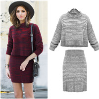 Knitted Two Piece Set Top & Skirt