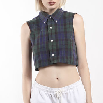 Vintage Re-Work Polo Crop Blouse