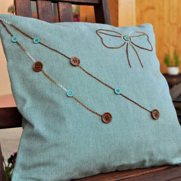 Embroided bow pillow case