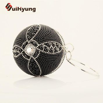 New Fashion Women's Ball Shape Clutch Bag Small Tote Purse Noble Pearls Diamond Wedding Beaded Clutch Party Evening Bag Handbags