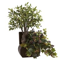 SheilaShrubs.com: Olive Tree and Grape Leaf w/Chest 6771 by Nearly Natural : Artificial Flowers & Plants
