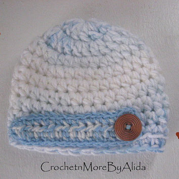 Crochet baby boy hat,  0 to 3 months, boy hat, Crochet hat Boy,  photo prop, hat baby boy, Baby Blue Beanie, Baby boy gift