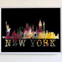 Watercolor New York City Print NYC Skyline Modern Poster Wall Art Decor