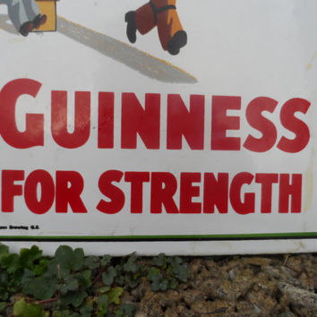 Vintage Guinness enamel sign - porcelain coated vintage Irish bar or man cave decor - vintage advertising piece - Guinness