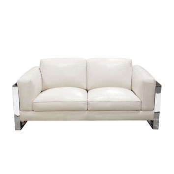 Annika Loveseat in Bone Air Leather with Polished Stainless Steel Arm