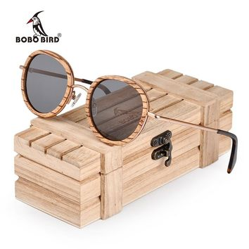 BOBO BIRD Oval Sunglasses Women Polarized Wood Sun Glasses in Wooden Gift Box Metal Temple gafas uv400 mujer W-AG027