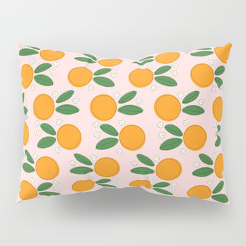 Orange Blossoms on Pale Pink Pillow Sham by Inspire Your Art