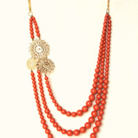 Hollywood Glamour Vintage Look 1950s Style Necklace Graduated Swarovski Crystal Coral Orange Pearls With Decorative Goldtone Filigree Discs