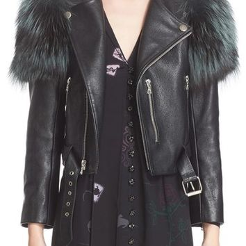 MARC JACOBS Leather Moto Jacket with Genuine Fox Fur Trim | Nordstrom