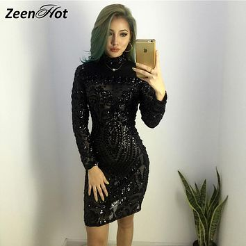 Autumn Winter Elegant Sequined Dress Women Black Bodycon Dress Long Sleeve Lady Evening Party Sequin mini Dress Vestidos