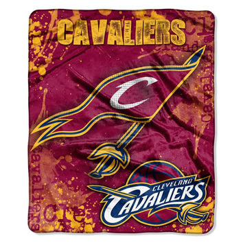 Cleveland Cavaliers NBA Royal Plush Raschel Blanket (Drop Down Series) (50x60)
