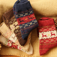Women's Christmas Print Cotton Wool Crew Socks Winter Spring Warm Socks 5Pcs Gift