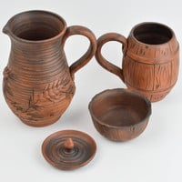 Handmade decorative pottery set of ceramic tableware clay tableware for kitchen