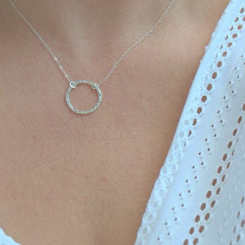 sterling silver open circle necklace, simple necklace, hammered ring necklace, texture circle necklace, modern minimalist jewelry