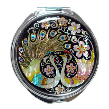 Mother of Pearl Peacock Pair Wedding Favor Gift Magnifying Double Compact Cosmetic Makeup Folded Purse Beauty Pocket Hand Mirror