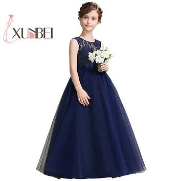 Navy Blue petites filles robes Princess Lace Flower Girl Dresses 2017 Tulle Girls Peagant Dresses First Communion Dresses