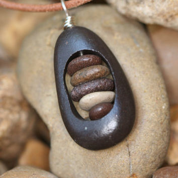 "Drilled Lake Superior rock, filled with small stones necklace, stacked stone ""babies"", river rock cairn, rock necklace"