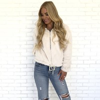 Stay Golden Faux Fur Jacket In Cream