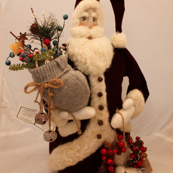 "Santa, 20 ""Burgandy, Needle Felted Santa Claus"
