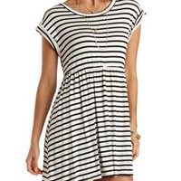 White Combo Striped Babydoll Dress by Charlotte Russe