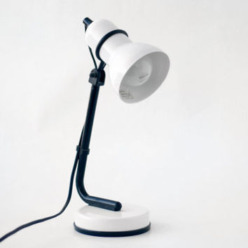 Vintage Black White Table Desk Lamp Light // Made in Italy // Italian Metal Lampshade Office Lamp // Home Decor Light Bedside Space Age