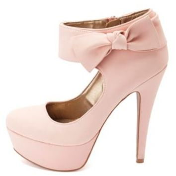 Knotty Bow Ankle Cuff Platform Pumps by Charlotte Russe - Blush
