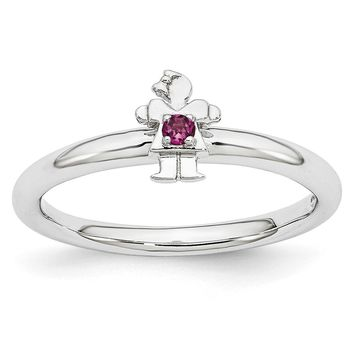 Rhodium Plate Sterling Silver Stackable Rhodolite Garnet 7mm Girl Ring