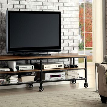 "Ventura II collection industrial style medium oak finish wood 81"" TV console media stand"