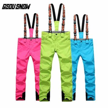 GSOU SNOW Double Single Board Ski Pants For Female Winter Outdoor Waterproof Warm Thickened Windproof Ski Trousers Size XS-L