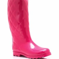 Quilted-Rubber-Rain-Boots FUCHSIA PURPLE RED TAUPE TEAL - GoJane.com