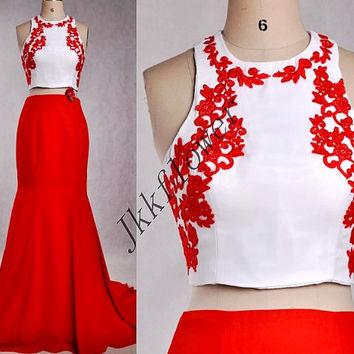 Unique Two Piece Prom Dresses,Red Applique Prom Dresses,Two Piece Evening Dresses,Mermaid Homecoming Dresses,Party Dresses