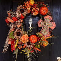 Scarecrow wreath, Fall/Autumn grapevine wreath, Fall Grapevine Wreath, Autumn grapevine wreath, front door wreath, fall wreath, Autumn wreat