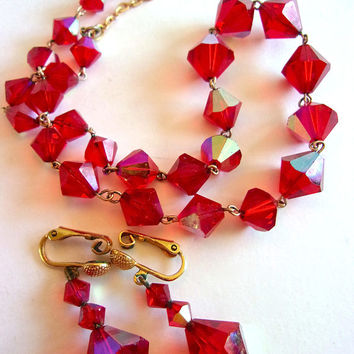 Art Deco Red Glass Siam Necklace Earrings Set, Gold Tone, Vintage