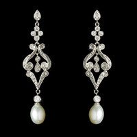 ANTIQUE Vintage Bridal EARRINGS Cubic Zirconia and Freswater Pearl Dangle Earring  - Rhodium Plated Cubic Zirconia Encrusted Brides Earrings