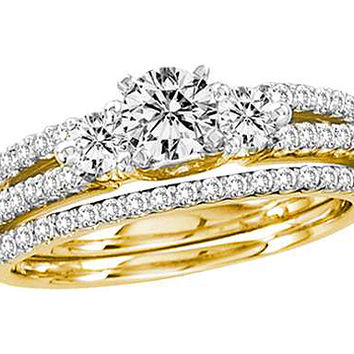 Diamond 0.40ct Center Round Bridal Set in 14k Gold 1 ctw