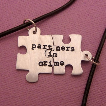 Partners In Crime - A Set of 2 Puzzle Piece Necklaces in Aluminum, Copper, or Sterling Silver