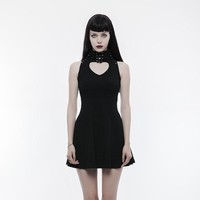 Women's Gothic Heart Shape Cutout Lace-up Sleeveless Dress - Punk Design