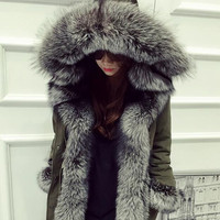 DHL Free High Quality 2016 Winter Coat Women Luxurious  100% Natural Fox Fur Collar White Duck Down Jacket For Snow Outerwear