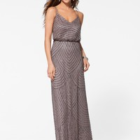 Taupe Beaded Blouson Gown - Gowns - Dresses