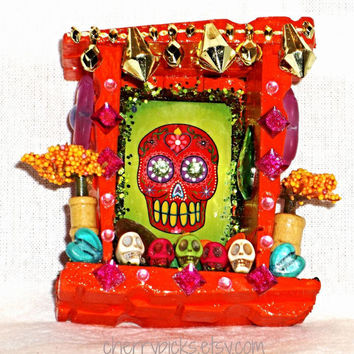 Dia De Los Muertos La Calavera Nicho Day of the Dead Sugar Skull Shrine