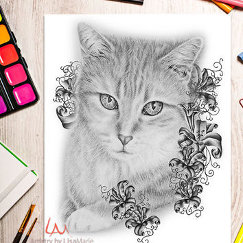 Printable coloring page, Adult Coloring Page, Instant download coloring, Tabby Cat Sitting coloring page, coloring, coloring book for adult